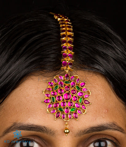 Bridal maang tikka temple jewellery with kempu stones