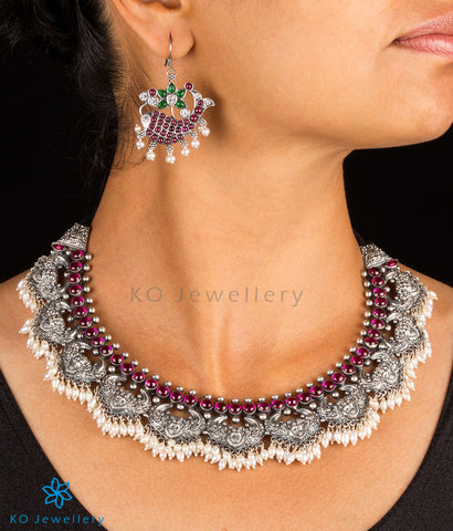 The Simha-Mukha Silver Necklace(Oxidised)