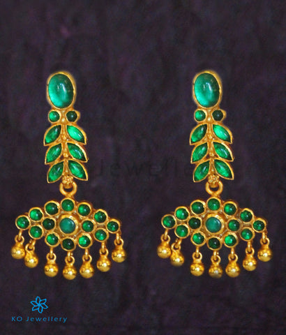 The Varsha Silver Kempu Earrings (Green)