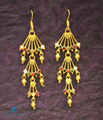 The Poorvi Silver Earrings (Navratna)