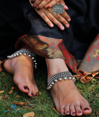 The Kadambini Silver Bridal Anklets