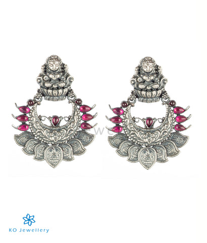 The Padmakshi Antique Silver Chand Bali (Oxidised)