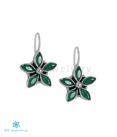 The Amita Silver Gemstone Earrings (Green)