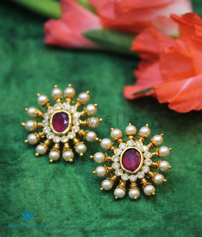 The Gajra Silver Ear-studs (Red/Pearl)