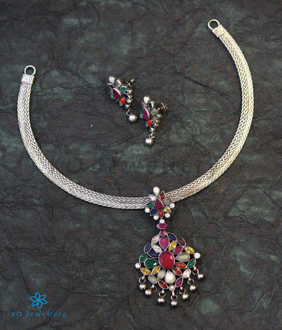 The Aham Silver Navaratna Necklace (Oxidised)
