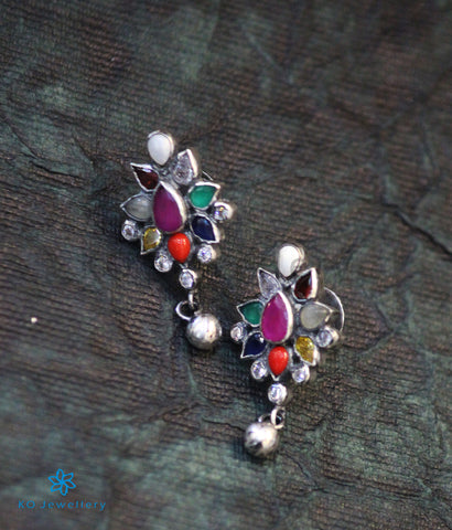 The Aham Silver Navratna Earrings (Oxidised)