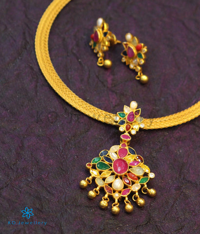 The Aham Silver Navaratna Necklace