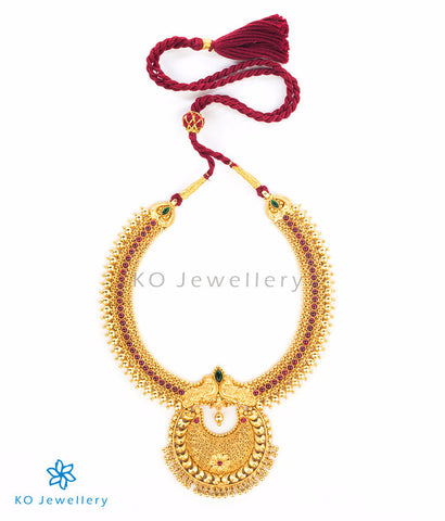 Handcrafted gold-plated temple jewellery necklace filigree work