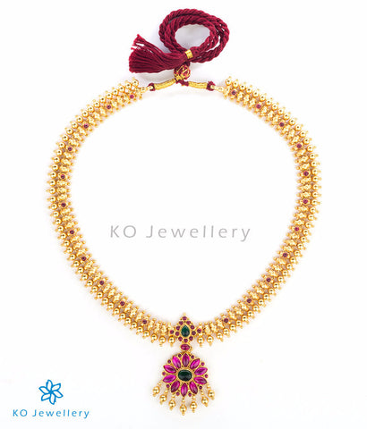 Kempu studded gold plated temple jewellery necklace