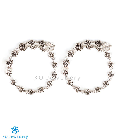 The Flora Silver Anklets