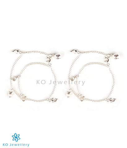 The Dolphin-Charms Silver Anklets