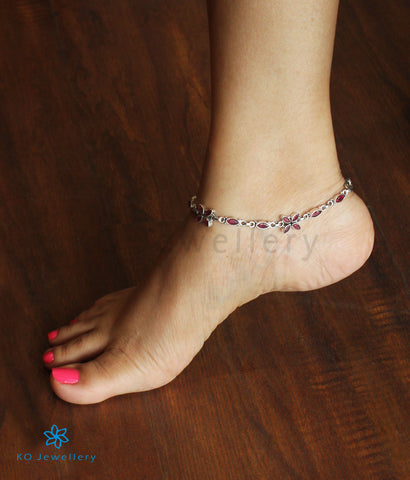 The Kripa Silver Gemstone Anklets (Red)
