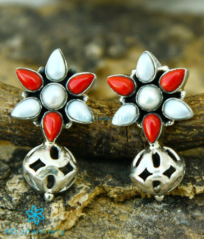 The Preksha Silver Gemstone Earrings (Coral/Pearl)