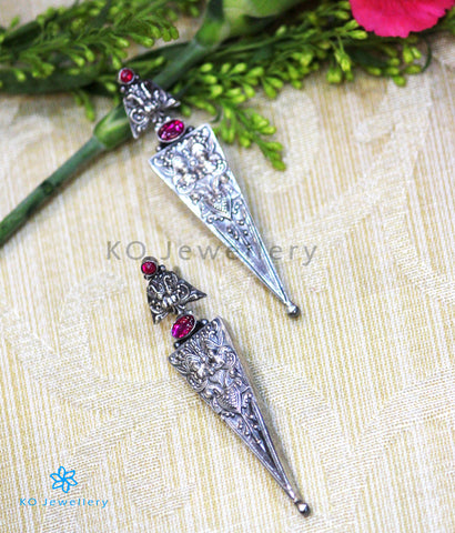 The Rasa Silver Antique Earrings(Oxidised)