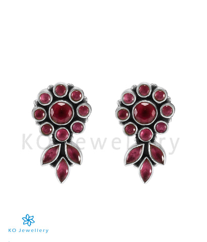 The Pritha Silver Gemstone Earrings (Red)