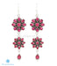 Ruby red silver gemstone earrings