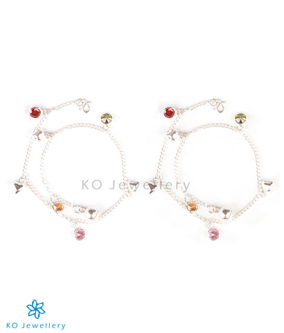 Cute silver anklets with colourful charms for young girls