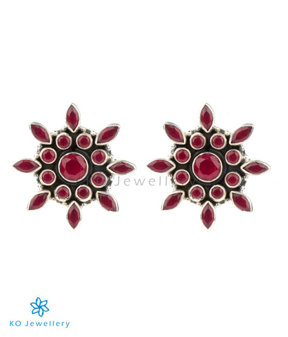 The Zara Silver Ear-studs (Red)