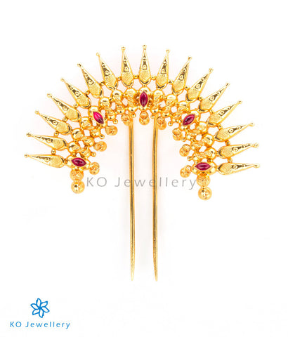 South Indian antique gold temple jewellery hair pin