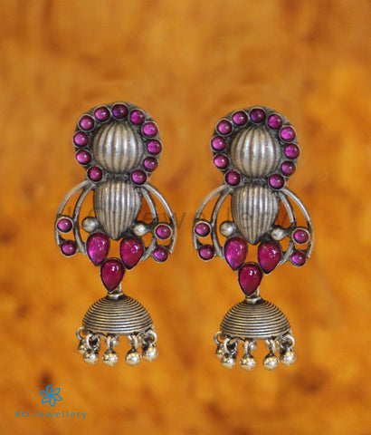 The Pratiti Silver Jhumka (Red)