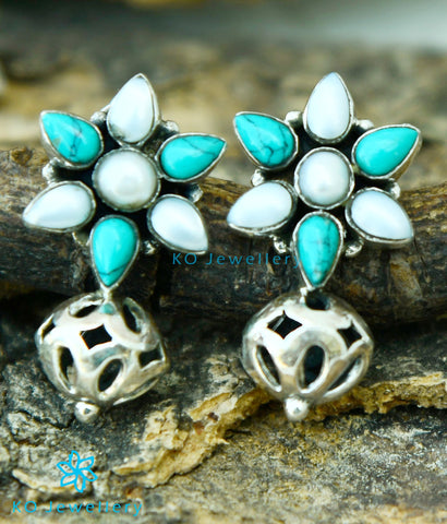 The Preksha Silver Gemstone Earrings (Pearl/Turquoise)