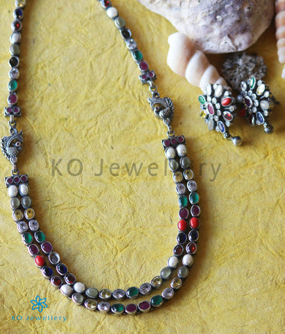 The Darshita Silver Navaratna Peacock Necklace(2 Layers/Oxidised)
