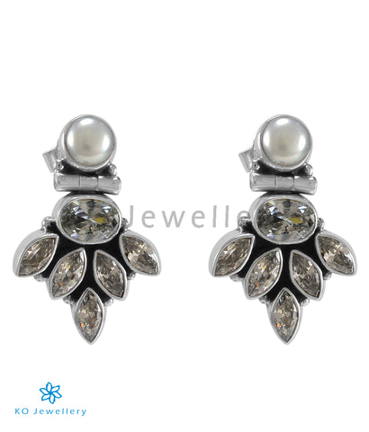 The Amrit Silver Gemstone Earrings (White)