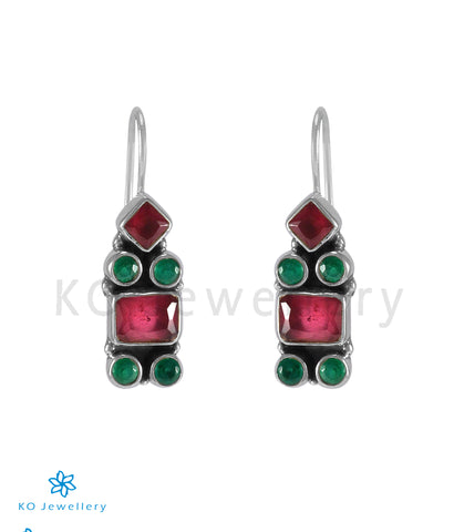 The Kahini Silver Gemstone Earrings (Multicolour)