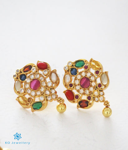 The Akshaya Silver Navratna Earrings