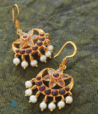 The Sindhura Silver Earrings (White)