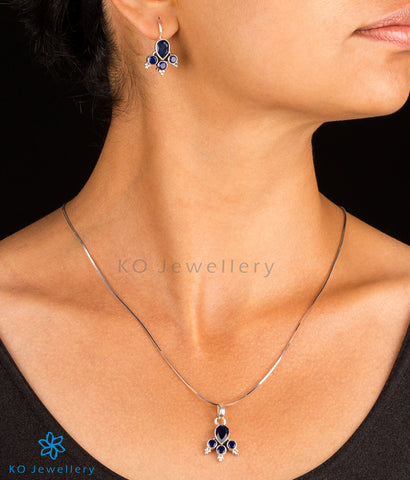 The Neha Silver Gemstone Pendant Set(Blue)