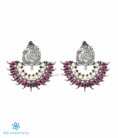 The Mayil Silver Peacock Earrings(Oxidised)