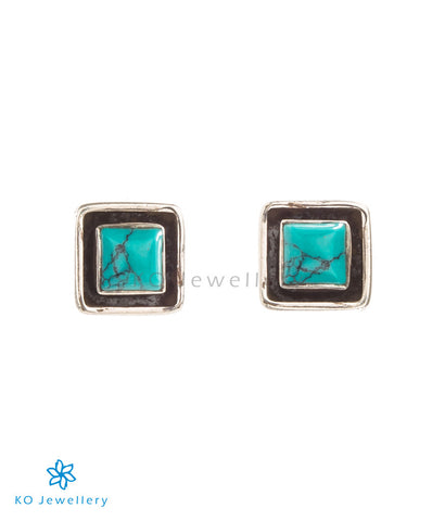 Square shaped tiny turquoise earrings for daily wear
