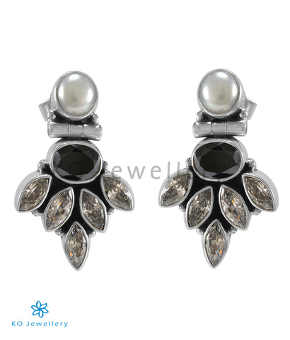 The Amrit Silver Gemstone Earrings (Black)