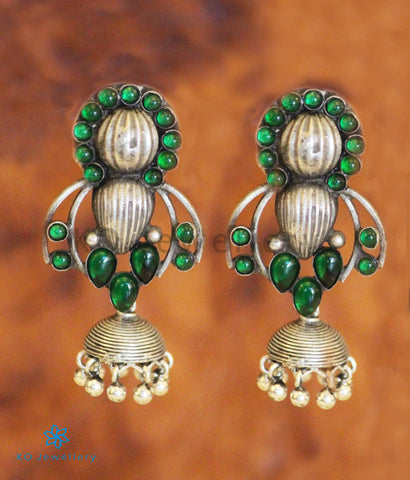 The Pratiti Silver Jhumka (Green)