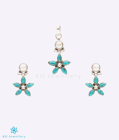 Turquoise and natural pearl genuine stone jewellery
