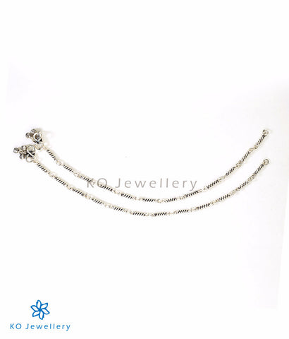 Simple light weight silver anklets