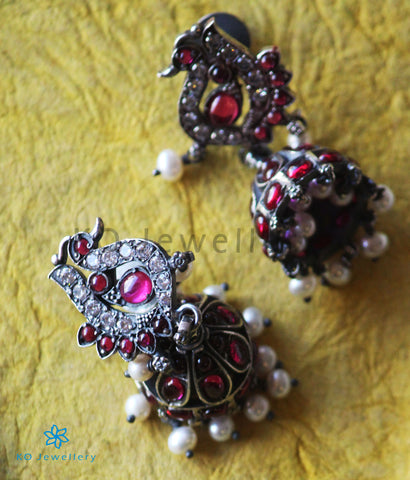 The Anubhuti Silver Peacock Jhumka (White/Oxidised)