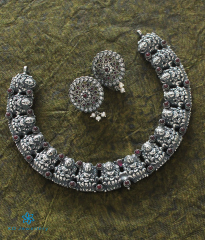 The Pavana Antique Silver Lakshmi Necklace