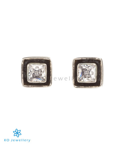 Cube shaped zircon earrings for work