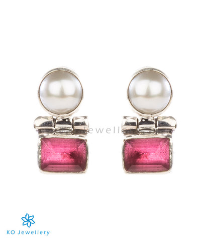 The Parth Silver Earstuds(Red)