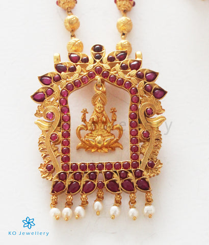The Sanidhya Silver Lakshmi Pendant (Red)