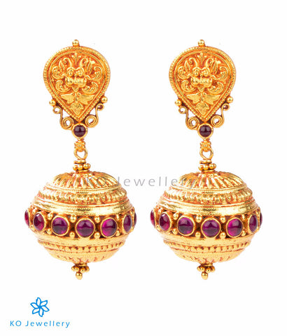 South Indian antique gold temple jewellery earrings