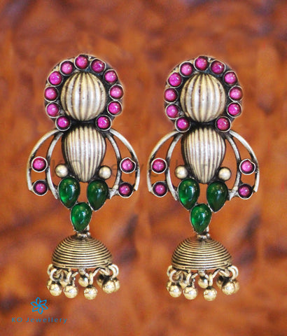 The Pratiti Silver Jhumka (Red/Green)