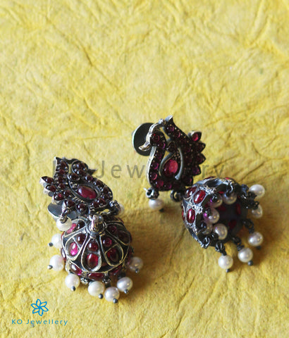 The Anubhuti Silver Peacock Jhumka (Red/Oxidised)