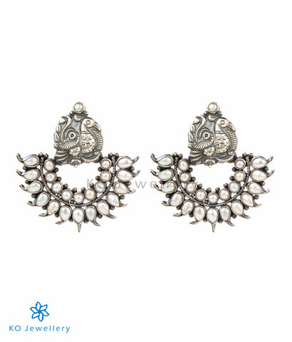 The Mayil Silver Peacock Earrings(Pearl)