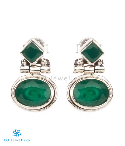 The Pahal Silver Earstuds(Green)