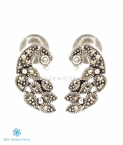 The Hritvi Silver Peacock Earrings