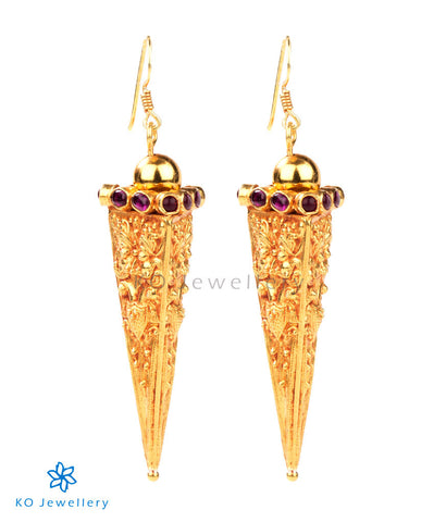 Ancient South Indian antique gold temple earrings @4,500
