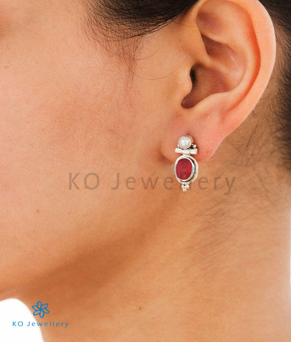 The Nidhi Silver Gemstone Earrings-Red